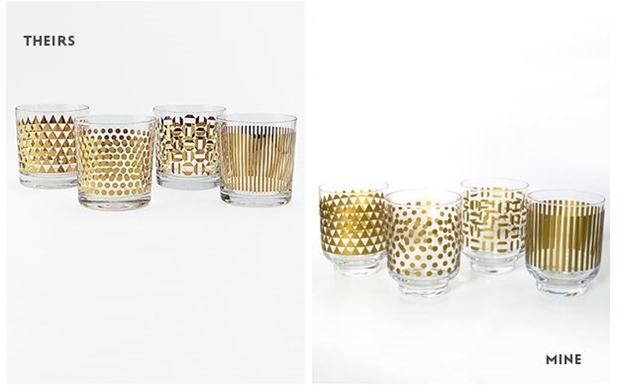 sarah hearts metallic gold glassware