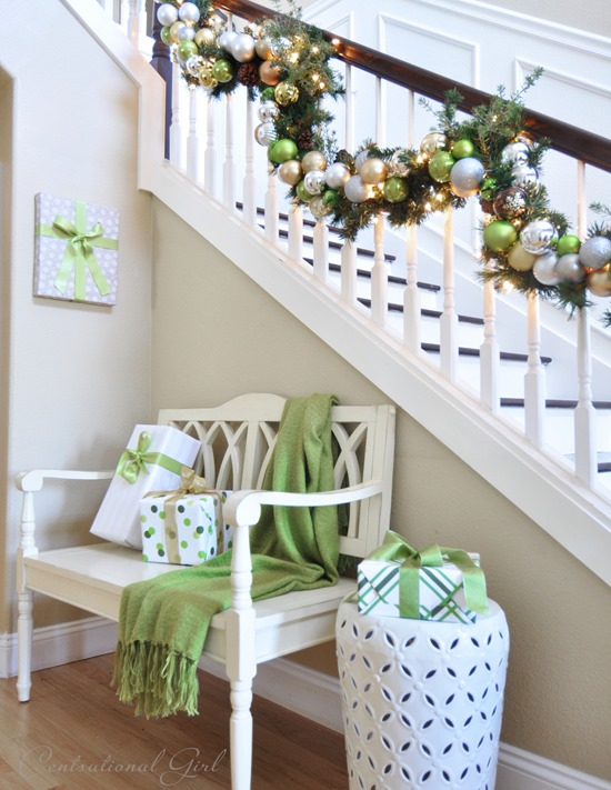 bench and garland in entry