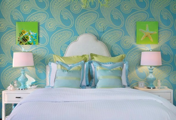 blue rajapur wallpaper in bedroom