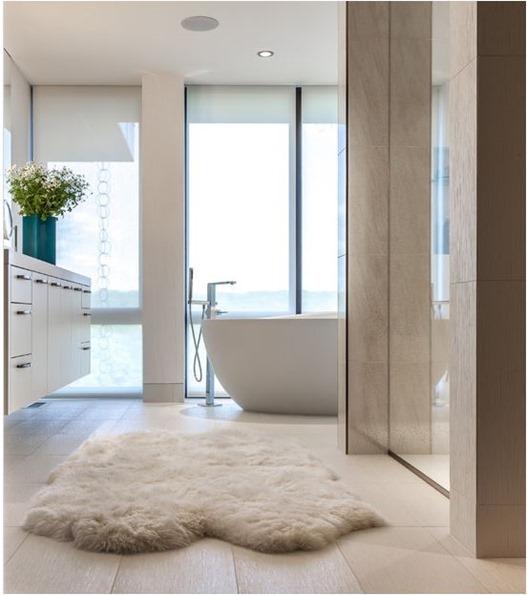 sheepskin rug in bathroom
