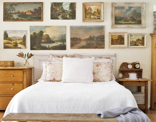 bedroom with paintings country living