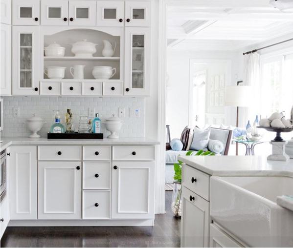 traditional white kitchen black knobs
