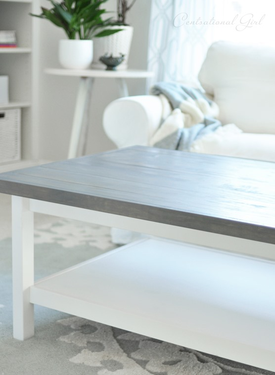 weathered gray wood top hemnes coffee table
