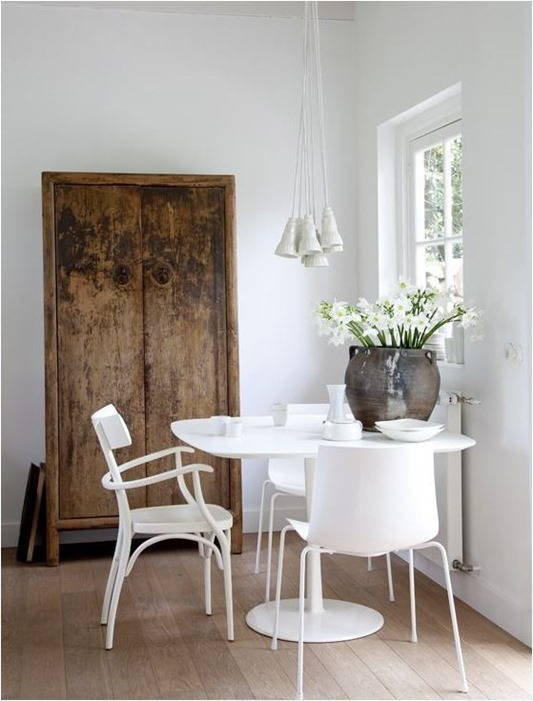 white dining room wood floors