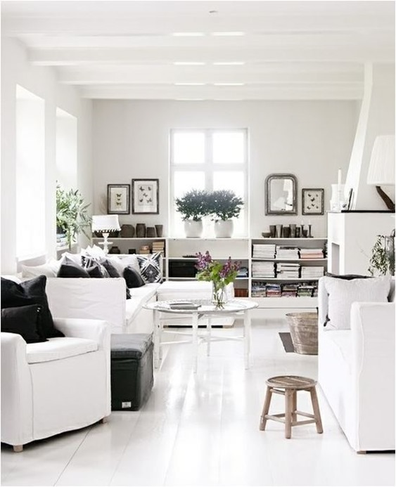 white sofas and shelves
