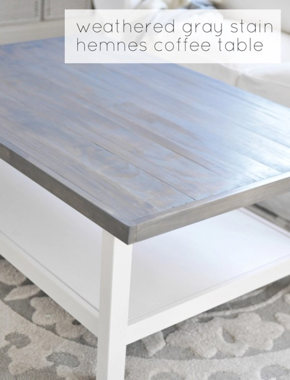 wood top weathered gray stain hemnes coffee table