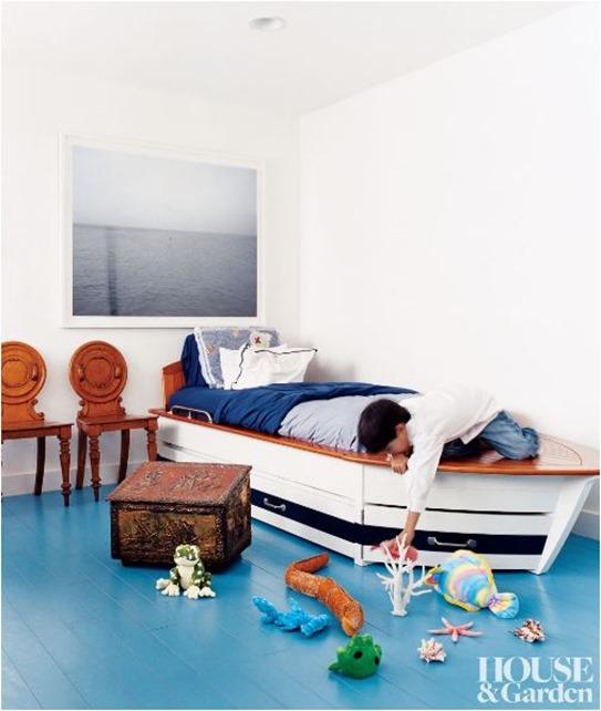 blue painted floors