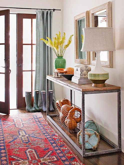 rustic console in entry bhg
