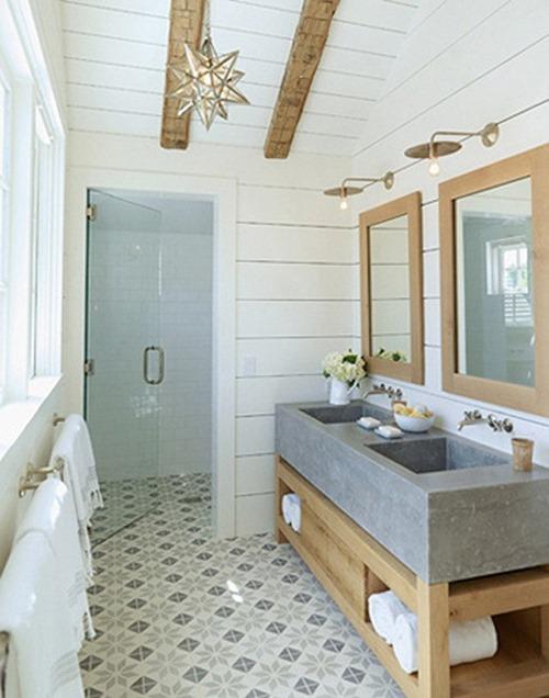 tile floors modern meets cottage bathroom