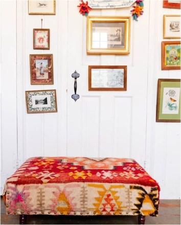 Handwoven Textiles Kilim Rug Ottoman Colorful Ottoman Wall Gallery