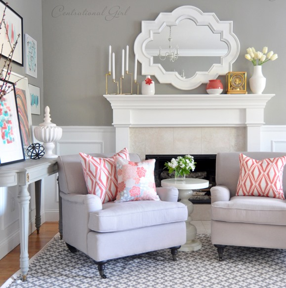 spring mantel living room centsational girl