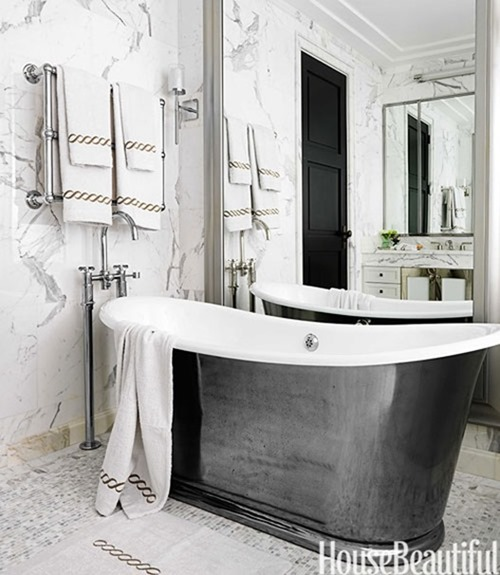cast iron metallic tub housebeautiful