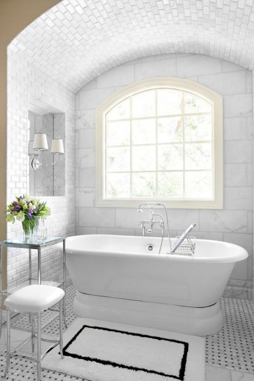 freestanding tub black and white bathroom