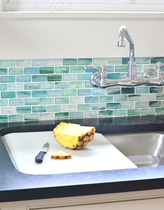 blue green glass tile backsplash