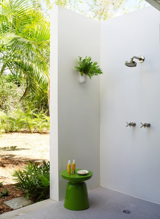 Inspirational corner outdoor shower