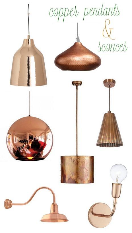 copper pendants and sconces
