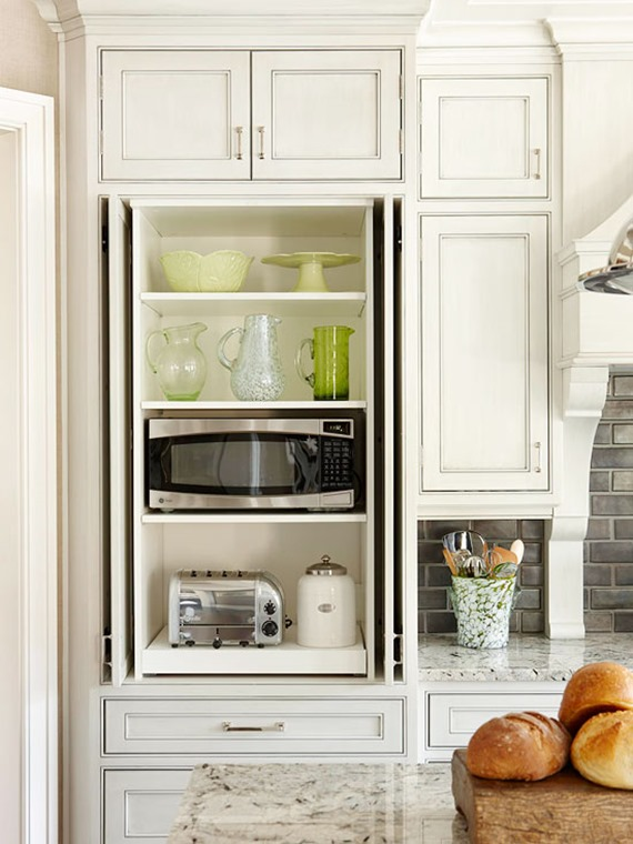 Lovely Hidden Microwave And Appliance Pantry