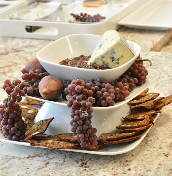 tiered cheese jam grapes