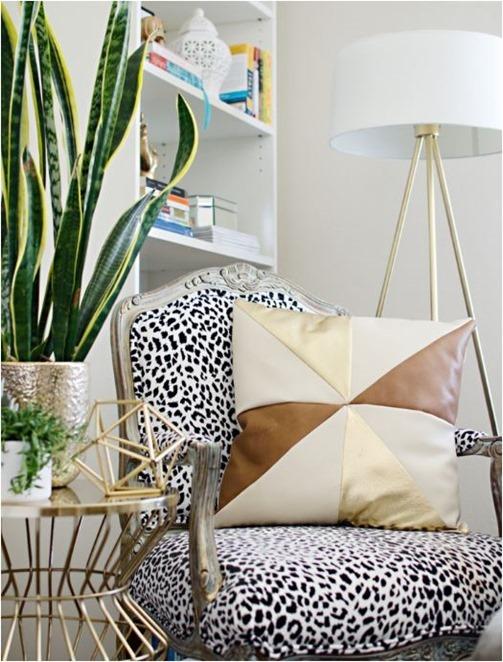 gold leather pinwheel pillow
