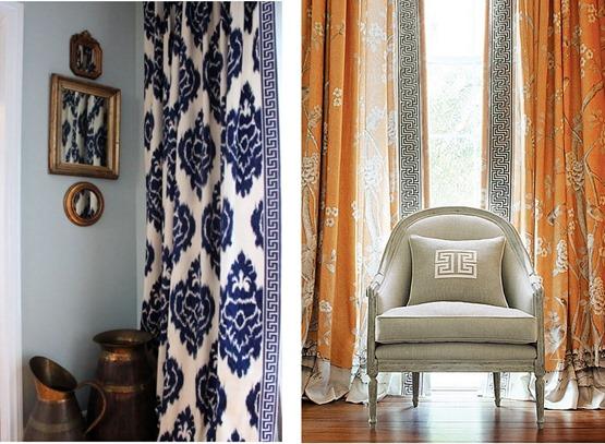 Charming Greek Key Trim Curtains