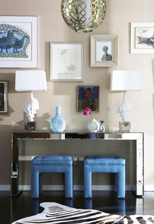 mirrored console twin stools