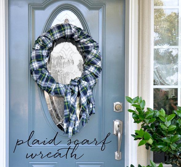 fall plaid scarf wreath