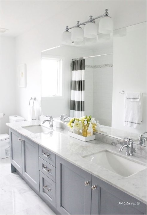 Ideal gray painted bathroom vanity