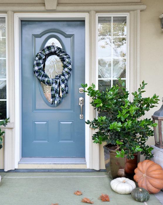 plaid fall wreath front porch