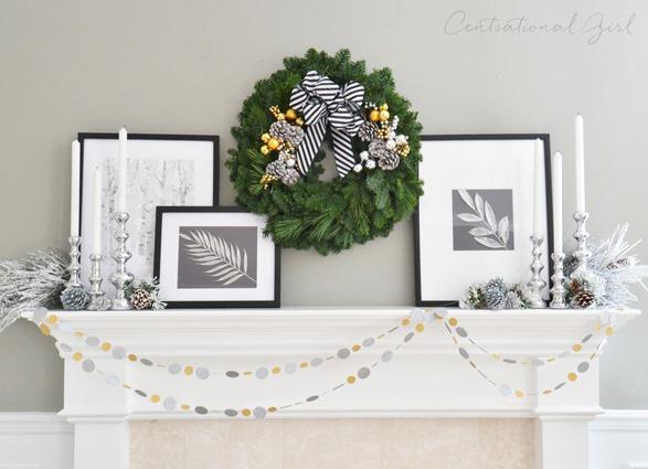 centsational girl black and white christmas mantel
