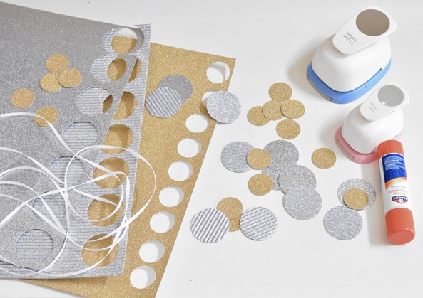 glitter cardstock and punches