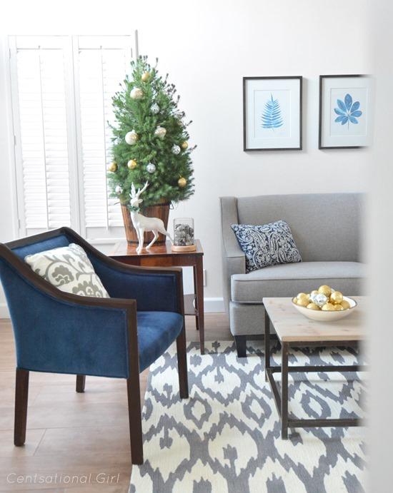 navy chairs gray sofa christmas tree