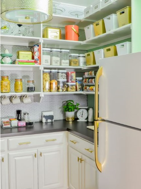 pantry with gold touches