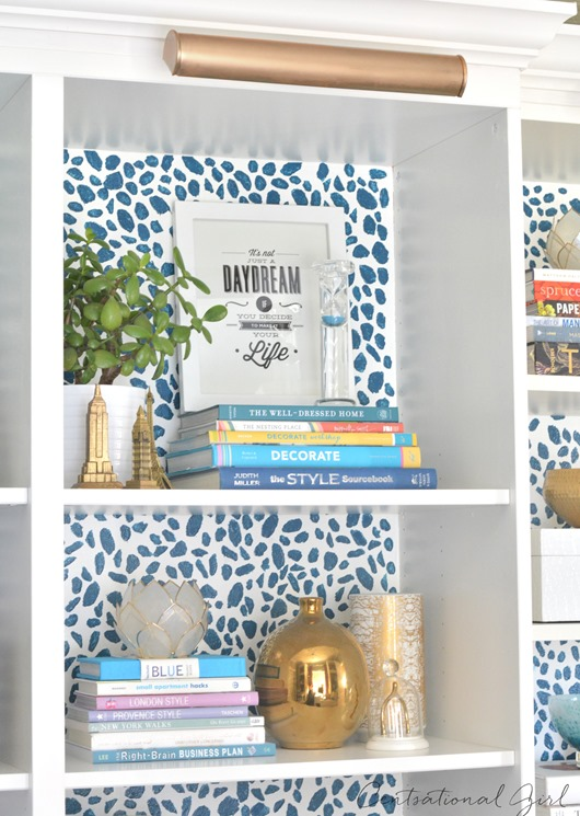 spotted background bookcase up close