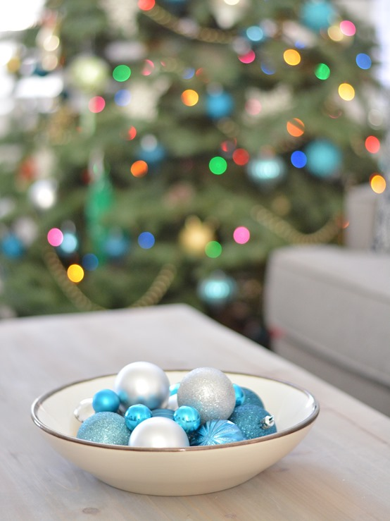 bowl of blue ornaments