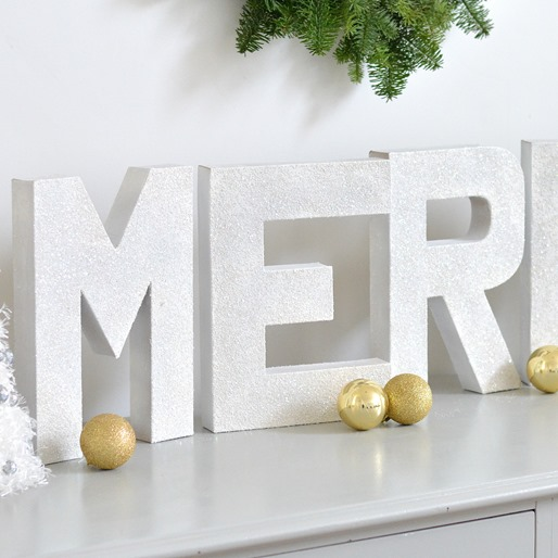 merry glitter letters up close