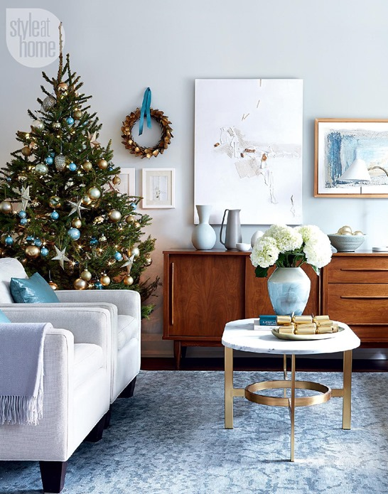 modern blue and gold christmas