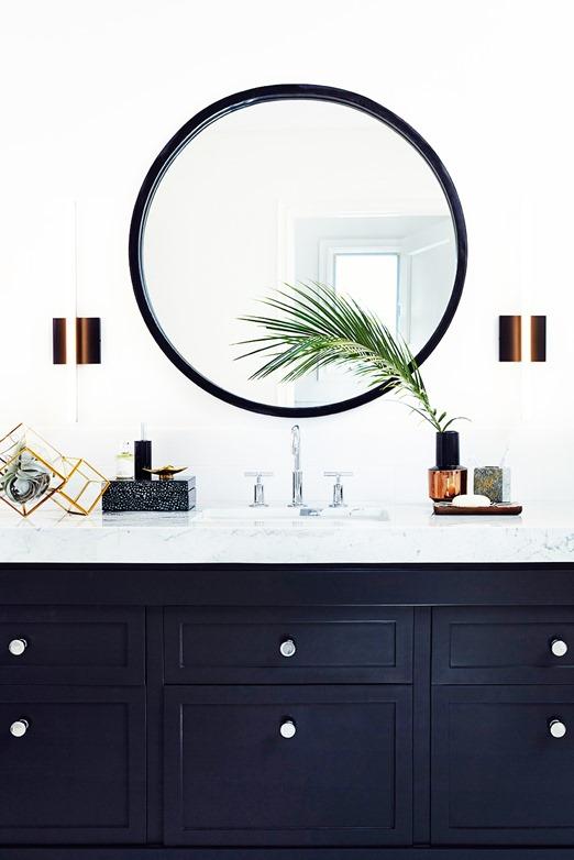 black painted vanity