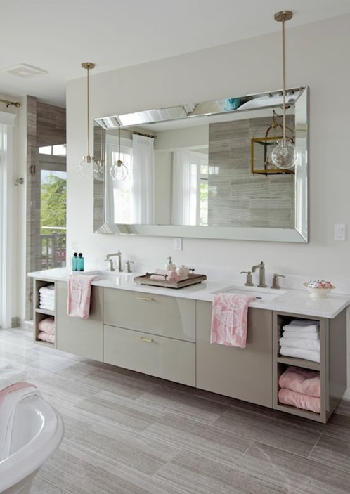 Oversized Floor Mirrors Horizontal Bathroom Mirror Greige Pendant Lighting Clawfoot Bathtub Pink Towels Master Bath