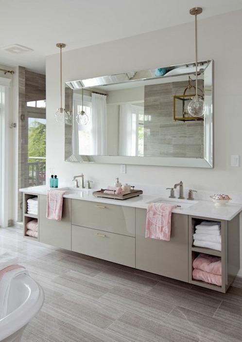Oversized Floor Mirrors Horizontal Bathroom Mirror Greige Pendant Lighting  Clawfoot Bathtub Pink Towels Master Bath