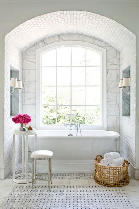 Bathroom Decor White Standalone Bathtub Crisp White Towels Laundry Wicker Basket Fresh Pink Flowers Window Natural Light Interior Design