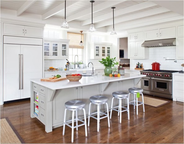 Elegant white kitchen wood floors plank ceiling with beams