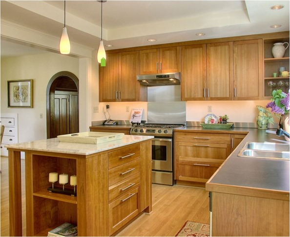 wood kitchen with soffit