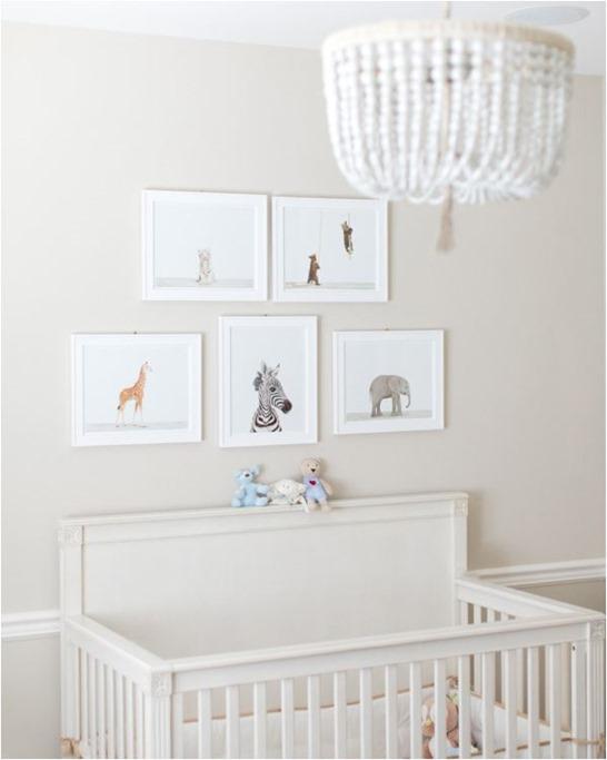 animal prints above crib