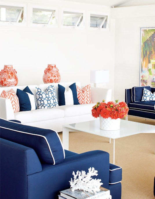 coral navy living room
