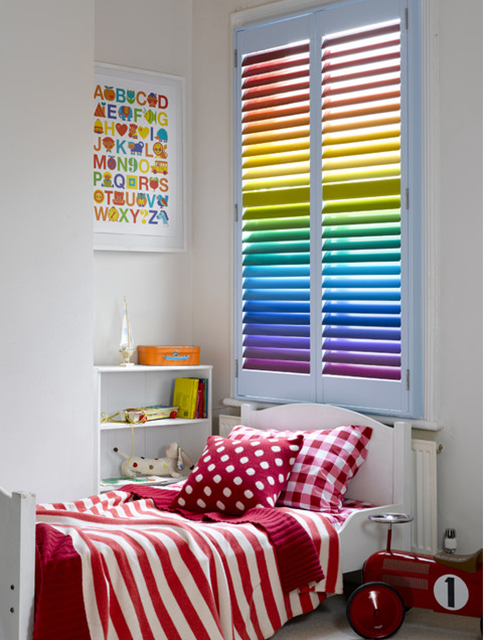 rainbow painted plantation shutters