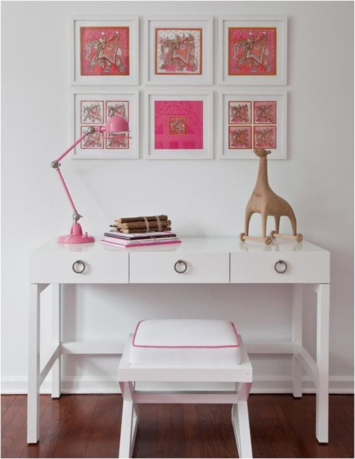 white desk in kids room