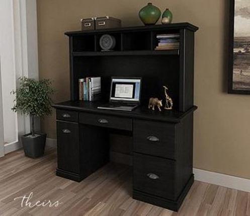 Lovely black desk and hutch