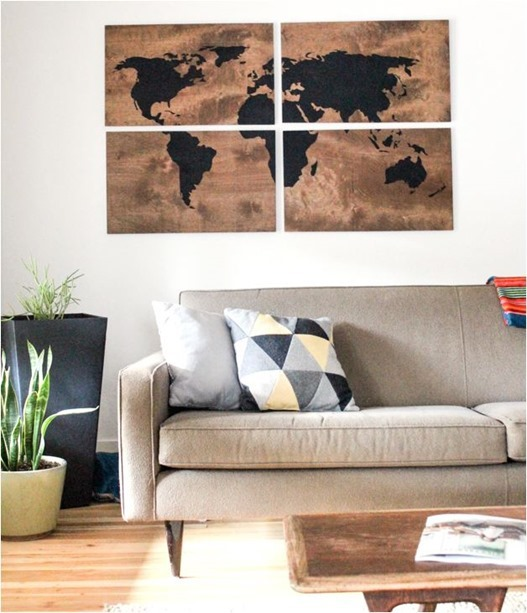 world map wall panel