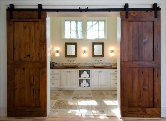 barn doors to bathroom