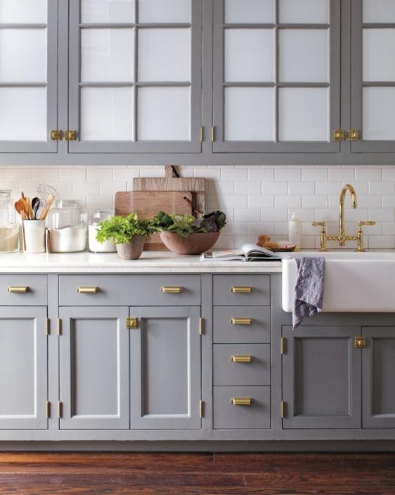 Merveilleux Gray Cabinets Brass Hardware